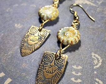 Etched Brass Owl Earrings, Art Deco Earrings Czech Glass Flowers - Free Domestic Shipping