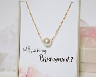 Gold Single Pearl Necklace, White Floating Pearl Necklace, Bridal Party Jewelry, Bridesmaid Gift, Simple Everyday Jewelry, Swarovski Pearl