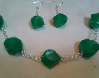 Set of a bracelet and earrings Emerald gemstone Fimo