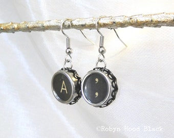 Typewriter Key Earrings Vintage  Letter A and Commas Keys