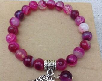 Striped Agate Gemstone Charm Bracelet, Pink Bracelet, Gemstone Silver Charm Bracelet, Yoga Bracelet, Meditation Bracelet, Chakra Bracelet