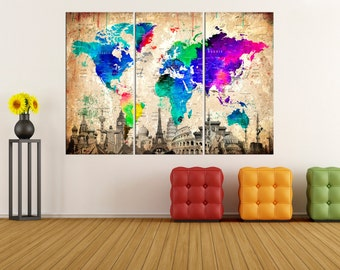 Extra large wall art push pin world map wall art print modern extra large world map wall art canvas push pin world map art travel map modern canvas art modern wall art abstract wall art no7s06 gumiabroncs Gallery