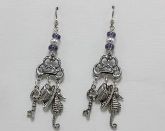 Handmade Earrings Dangle Earrings Key Cup and Seahorse form A Whimsical Form Hanging From a Silver Brass Connector Beaded With Niobium Hooks