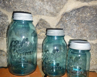 Blue Mason ball jar  Vintage Mason 3 jars  1  half gallon, 1  quart,  and 1 pint  size,