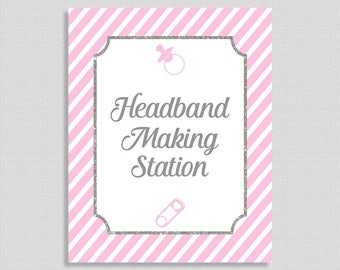 Headband Making Station Shower Sign, Pink & Gray Stripe Baby Shower, Baby Girl, INSTANT PRINTABLE