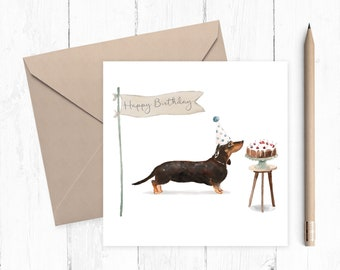 Dachshund Birthday Card - dog card - Dachshund card - birthday card - ideal gift for dog lovers