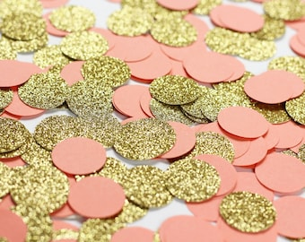 Coral wedding decor etsy coral and gold confetti coral table confetti coral and gold glitter circle confetti junglespirit Images