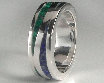 Silver Argentium with Malachite and Lapis ring