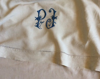 Antique linen sheet with monogram