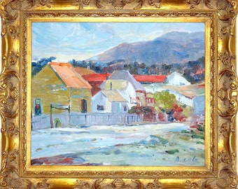 Amazing ca.1965 Village in the Mountains Oil Painting  on Canvas w/Frame Signed
