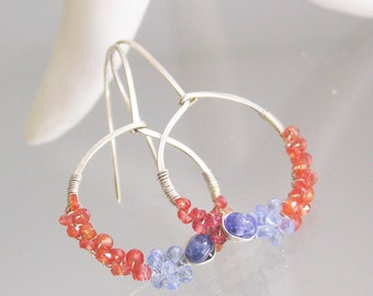 Tanzanite Sterling Hoops, Blue and Orange Sapphire Earrings, Lightweight Gemstone Hoops, Everyday Jewelry, Artisan Designed and Made