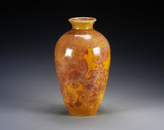 Porcelain Vase - Orange, Brown, Gold - Crystalline Glaze - Hand-Made, High-Fired Pottery  - SHIPPING INCLUDED  - #A-5349