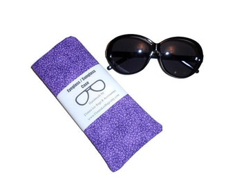 Purple Sunglass or Eyeglass Case, Padded Fabric Glasses Case, Mother's Day or Birthday Gift, Handmade By Donna Lee Bags