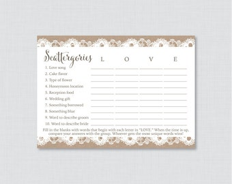 Burlap and Lace Bridal Shower Scattergories Game - Printable Rustic Burlap Scattergories Game - Burlap and Lace Bridal Shower Game 0003