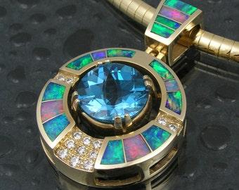 Australian opal pendant with blue topaz and diamonds