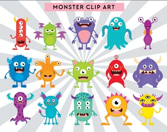 Monster Clip art, Cute monsters clip art, Graphics for Commercial Use, Commercial use, PNG, Digital clipart, digital monsters