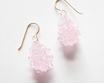 Glass Cluster Ball Earrings - Baby Pink
