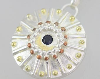 "Locket- Sunburst with Stone, Med in Sterling Silver, 14ky Gold, & Copper (24"")"