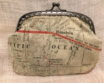 Large Vintage Map Coin Purse