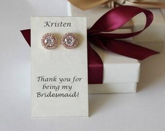 Bridesmaid earrings, Bridesmaids gift, Rose gold CZ studs, Cubic Zirconia earrings, Silver bridal earrings, Gold stud, Tie the knot earrings