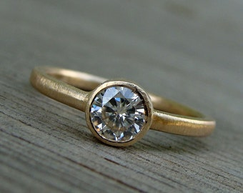 Moissanite Ring in Recycled 14k Yellow Gold - Wedding, Engagement Ring - Bezel - Ethical, Conflict-Free Diamond Alternative - Made To Order