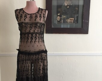 20s 30s drop waist spanish lace dress