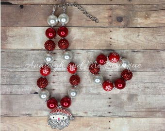 Christmas Chunky Necklace,  Christmas Baby Necklace,  Toddler Christmas Necklace,  Christmas, Winter Necklace,   Red and White Necklace