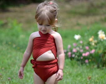 Bathing Suit XS Wrap Around Swimsuit One Wrap Terracotta Young Girls and Teen Swimwear Swimming Costume Body Suit Extra Small hisOpal