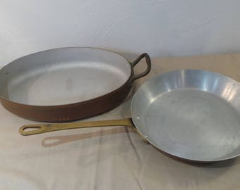 Fry Pan, and Oval Gratin,Copper Clad Pans, Sold As Found, Unrefurbished, Unpolished, Bargain Pans, Scratches, Copper Covered, Aluminium