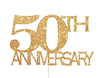 50th Anniversary Decorations, 50th Anniversary Cake Topper, 50th Anniversary Party, 50th Wedding Anniversary Decorations, Gold Anniversary
