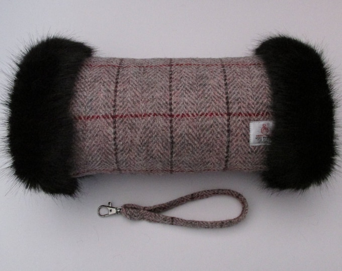 Harris Tweed Pink & Grey Herringbone Hand Muff with Black Faux Fur Trim