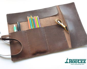Leather pencil case - leather pencil roll - travel - journal