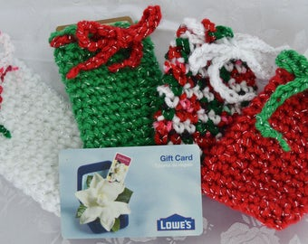 Sparkly Christmas Gift Card Holder With Drawstring