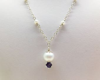 Freshwater Pearl and Iolite Sterling Silver Choker Necklace