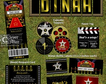 Hollywood Baby Shower Printables Red Carpet Mini Package banner cupcake toppers water bottle labels Movie A Star is Born party kit supplies