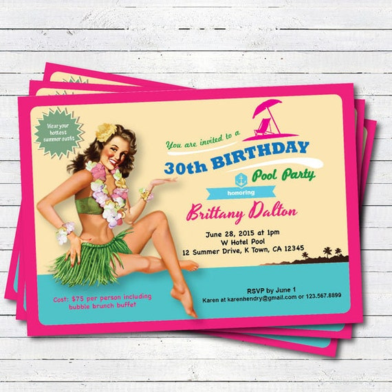 Hawaii 30. Geburtstag pool Party-Einladung. Vintage Pin-up