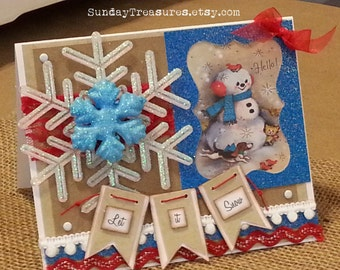 Snowman Card / Handmade Card / Let It Snow / Snowflakes Winter Card / Handmade Christmas Card / Retro / Red Turquoise Blue /  / 3 Day Ship