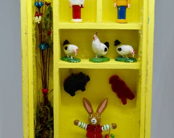 Vintage Shadowbox Handmade Wooden Box Bunnies, Chicks, Soldiers Kitschy Shadowbox