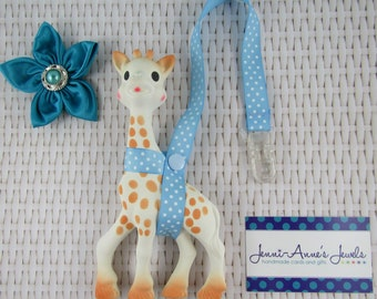 Sophie the Giraffe Leash/Toy Saver - Spots/Stripes