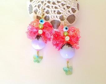 Statement earrings with lace, swarovski, rhinestone and murano beads