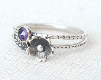Sterling Silver Flower Ring, Silver Cherry Blossom Ring, Amethyst Silver Ring, Textured Stacking Rings, Silver Leaf Ring, Gemstone Ring
