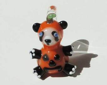 Halloween Panda Glass Pendant Heady Necklace Focal Bead Sculpted by Nykki Knight Ti Signed and Dated Jewelry Hand Blown in Eugene Oregon USA