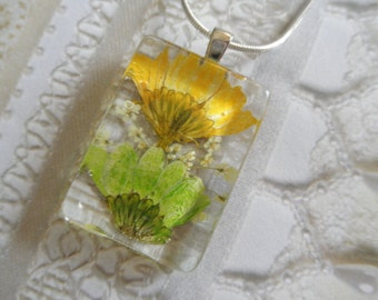 Lime Green-Sunny Lemon Yellow Daisies, Queen Anne's Lace Pressed Flower Glass Rectangle Pendant-Symbolizes Loyal Love-Gifts Under 25