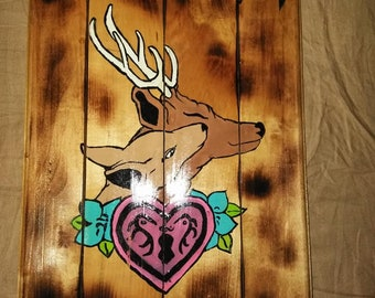 Loving Deer Wooden Wall Art