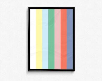 1990 Bedtime, End of TV broadcast, Giclee Art print,horizontal coloured stripes, SalomeKulture, Minimal, Modern Decor