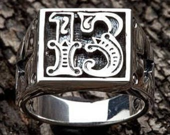 Fatboy Silver 925 Sterling Silver LUCKY NUMBER THIRTEEN Ring Poker Gambler Ring Slot Machine Fortune Heavy Highest Quality Rocker Biker Ring