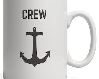 Crew Anchor Nautical Sailing Ship Boat or Yacht Gift for Boating Captain and Sailors Mug