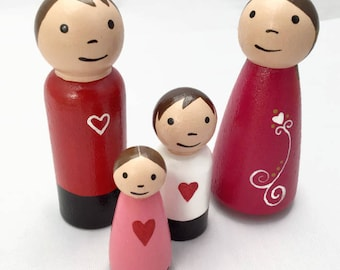 Peg Doll Family - Heart Dolls - Pink and Red Peg Dolls - Wooden Peg Dolls - Ready to Ship - Peg Dolls with Hearts