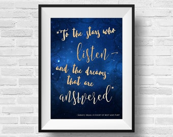 ACOMAF Quote 8 x 10 Typography Art Print - A Court of Mist and Fury Literary Quote Feyre Rhysand Book Nerd Fandom Fan