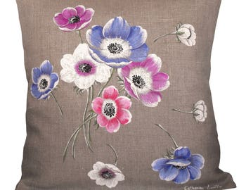 Linen pillow cover handpainted with a bouquet of anemones